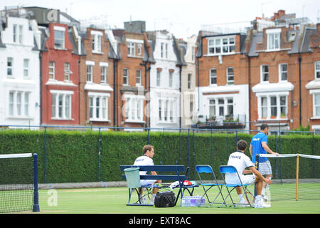 Queens Club, London, UK. 16th July, 2015. Davis Cup tennis quarter-final practice by French Team. France plays Great - Stock Photo