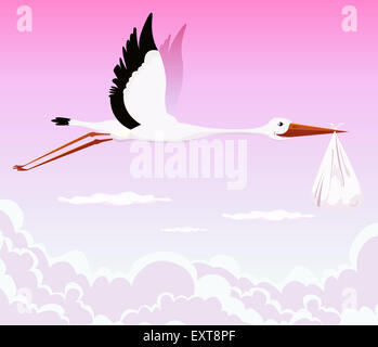 Illustration of a stork delivering baby girl in a bag for birth announcement, newborn holidays celebration and anniversaries - Stock Photo