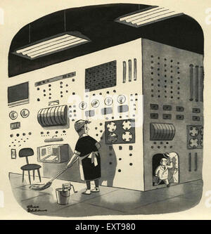 1950s UK Technology Comic/ Cartoon Plate - Stock Photo