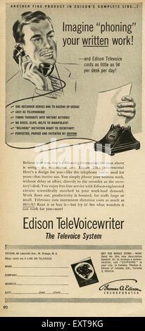 1950s USA Edison Televoice Writer Magazine Advert - Stock Photo