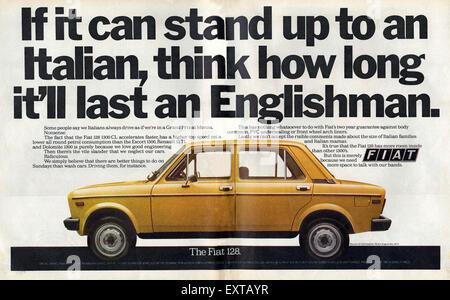 1970s UK Fiat Magazine Advert - Stock Photo