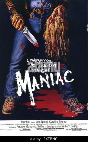 1980s USA Maniac Film Poster - Stock Photo