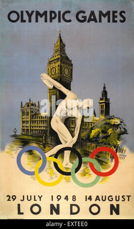 1940s UK Olympic Games Poster - Stock Photo