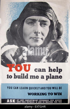 1940s UK Ministry of Labour and National Service Poster - Stock Photo