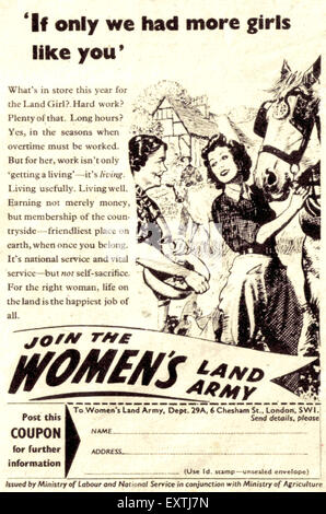 1940s UK Womens Land Army Magazine Advert - Stock Photo