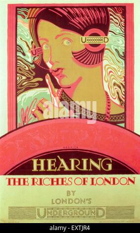 1920s UK London Underground Poster - Stock Photo