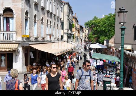 Italy - Venice - Cannaregio region - busy scene on the Strada Nova - the main shopping street - shoppers market - Stock Photo