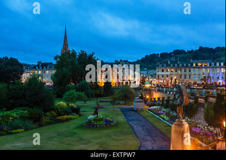 Night shot of Parade Gardens in the historic old city centre, Bath, Somerset, England, UK - Stock Photo