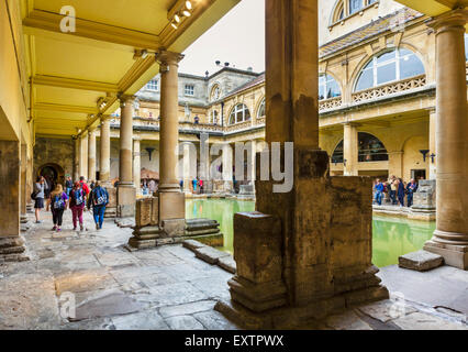 The Great Bath at the Roman Baths in Bath, Somerset, England, UK - Stock Photo