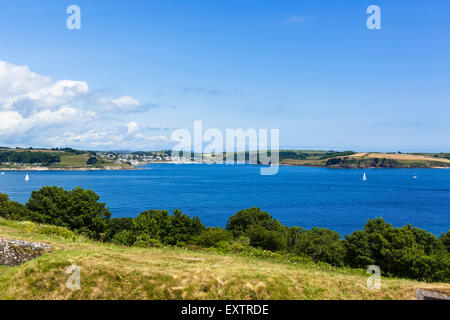 View over Carrick Roads towards St Mawes from Pendennis Castle, Falmouth, Cornwall, England, UK - Stock Photo