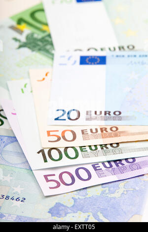 Various Euro denominations - 500 100 50 and 20 - Stock Photo