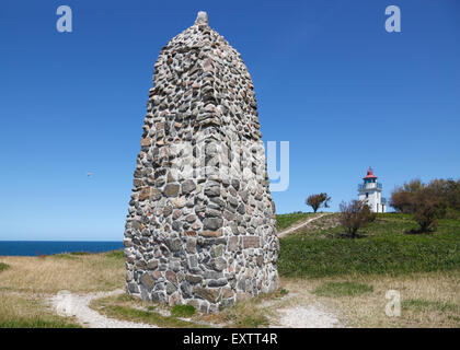 Memorial rock cairn and lighthouse at the home of the famous Danish polar explorer and anthropologist, Knud Rasmussen - Stock Photo