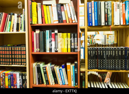 Second hand books in charity shop in Spain - Stock Photo