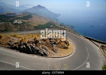 italy, basilicata, maratea, the steep road to monte san biagio - Stock Photo