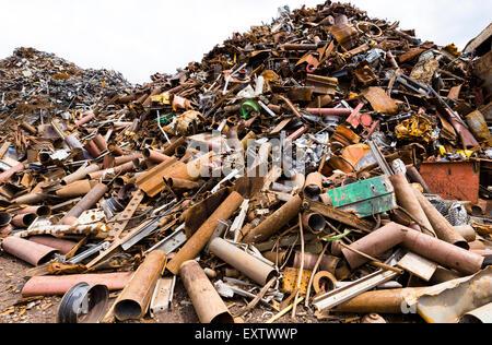 Recycling yard in Hamburg, scrap metal - Stock Photo