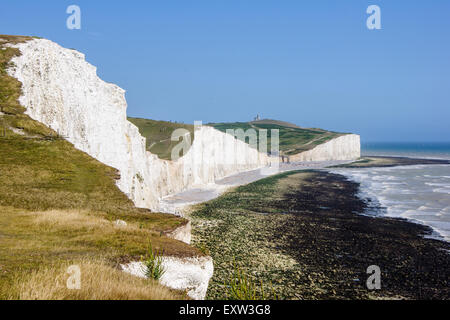 Along the chalk cliffs of Seven Sisters from above Birling Gap in East Sussex England - Stock Photo