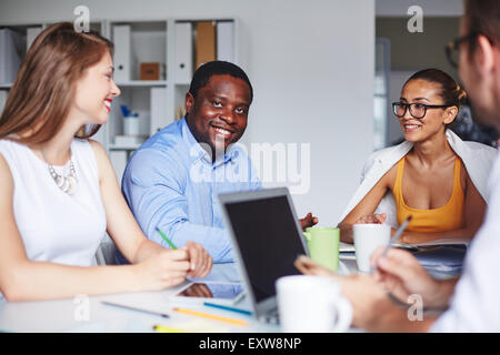 Successful business partners having meeting in office - Stock Photo