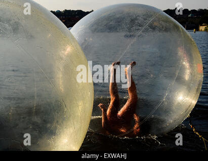 Prague, Czech Republic. 16th July, 2015. Zorbing, summer atraction at the Vltava river in Prague, Czech Republic, - Stock Photo