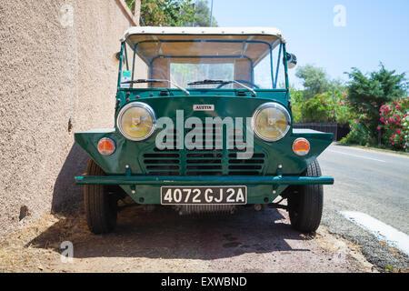 Ajaccio, France - July 7, 2015:  Austin Mini Moke 1967, vehicle based on the Mini designed for the British Motor - Stock Photo
