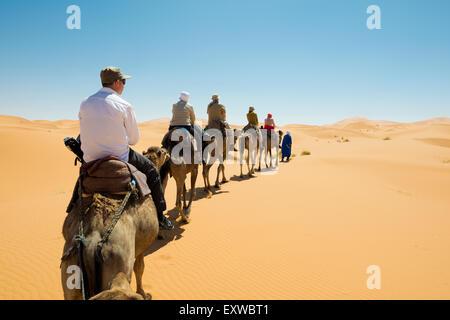 Tourists on camels in desert, Merzouga, Meknès-Tafilalet Region, Morocco - Stock Photo