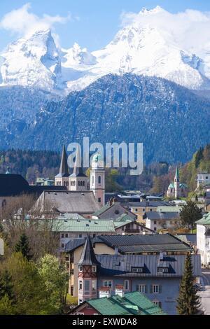 Berchtesgaden and Watzmann, Bavaria, Germany - Stock Photo