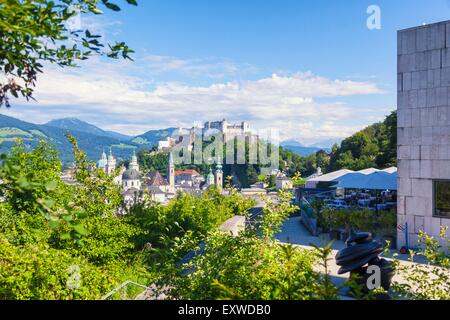View from Moenchsberg to old town of Salzburg, Austria - Stock Photo