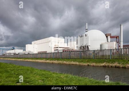 Dark clouds over Brokdorf nuclear power station, Schleswig-Holstein, Germany - Stock Photo