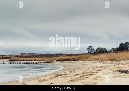 Rain clouds over the beach of Kampen, Sylt, Germany - Stock Photo
