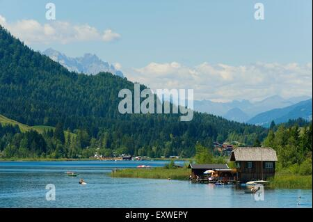 Techendorf with Weissensee, Carinthia, Austria - Stock Photo