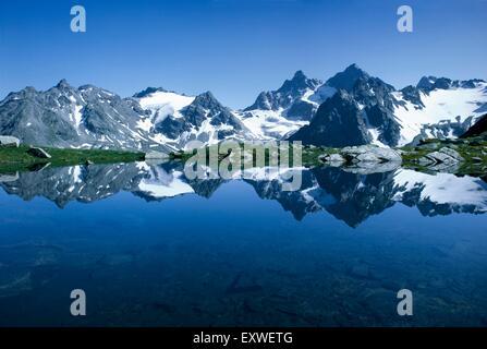 Mountain lake in Silvretta, Vorarlberg, Austria - Stock Photo