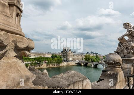 View from Musee d'Orsay over river Seine to Louvre, Paris, France, Europe - Stock Photo