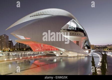 Palau de les Arts Reina Sofia, Ciudad de las Artes y de las Ciencias, Valencia, Spain, Europe - Stock Photo
