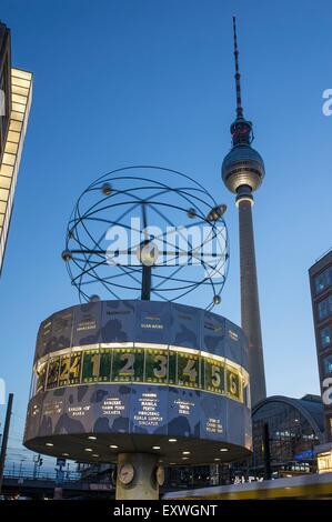 World clock and television tower, Alexanderplatz, Berlin, Germany, Europe - Stock Photo
