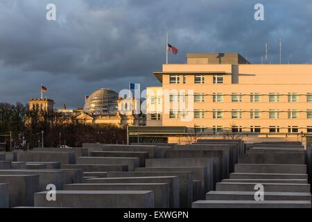 Reichstag and Holocaust monument, Berlin, Germany, Europe - Stock Photo