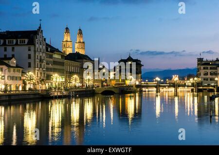 Grossmuenster and Limmat, Zurich, Switzerland, Europe - Stock Photo