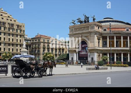 Teatro Politeama Garibaldi, Palermo, Sicily, Italy, Europe - Stock Photo