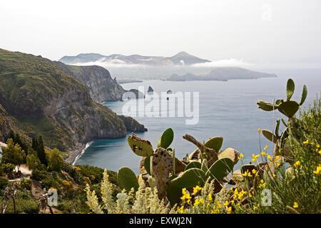 Coast of Lipari and Vulcano, Lipari Islands, Sicily, Italy, Europe - Stock Photo