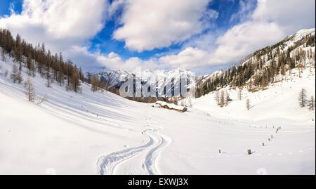 Alp hut in snow, Hafeichtalm, Radstaedter Tauern, Pongau, Salzburger Land, Austria, Europe - Stock Photo