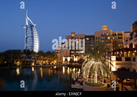 Burj al Arab and Medinat Jumeirah Hotel, Dubai - Stock Photo