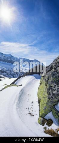 View above Langeggbachtal, Hohe Tauern, Tyrol, Austria - Stock Photo
