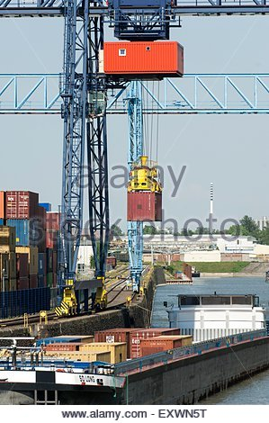 Freight train with color cargo containers in depot stock for Depot frankfurt am main