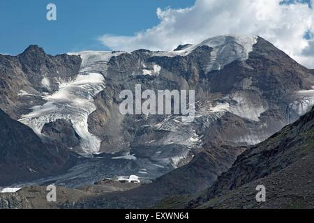 Kaunertal with Weissseespitze, Tirol, Austria - Stock Photo
