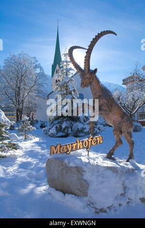 Ibex sculpture in Mayrhofen, Tyrol, Austria - Stock Photo