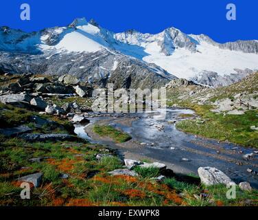 Reichenspitze and Gabler, Zillertal Alps, Tyrol, Austria, Europe - Stock Photo