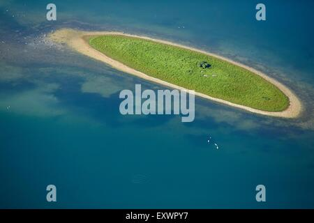 Little island in a pond near Lake Constance, Baden-Wuerttemberg, Germany, aerial view - Stock Photo