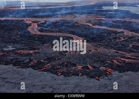 Volcano Bardarbunga, view on eruption at lava field Holuhraun at Sept 2nd 2014, Iceland - Stock Photo