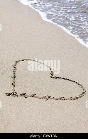 Heart painted in sand, Italy, Europe - Stock Photo