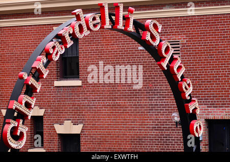 Ghirardelli Square entrance.It's a famous landmark public square with shops and restaurants in the Fisherman's Wharf - Stock Photo