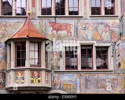 Medieval house in Stein am Rhein, Switzerland - Stock Photo
