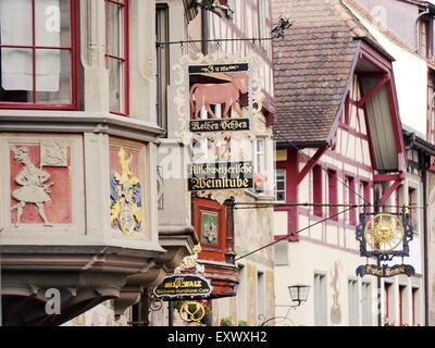 Medieval houses in Stein am Rhein, Switzerland - Stock Photo